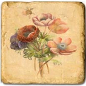 Carrelage en marbre, motif fleurs de printemps C, finition antique, illet pour l'accroche, pieds antidérapants, L 20 xl 20 x h 1 cm
