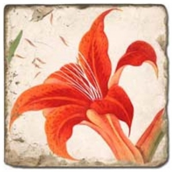 Marble Tile, Theme: Summer Flowers 2 B, antique finish, hanger, anti slip nubs, Dim.: l 20 x w 20 x h 1 cm