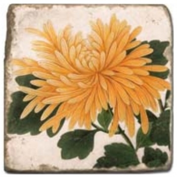 Marble Tile, Theme: Summer Flowers 2 D, antique finish, hanger, anti slip nubs, Dim.: l 20 x w 20 x h 1 cm