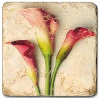 Carrelage en marbre, motif fleurs d'été 3A, finition antique, illet pour l'accroche, pieds antidérapants, L 20 xl 20 x h 1 cm