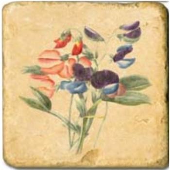 Carrelage en marbre, motif fleurs de printemps D, finition antique, illet pour l'accroche, pieds antidérapants, L 20 xl 20 x h 1 cm