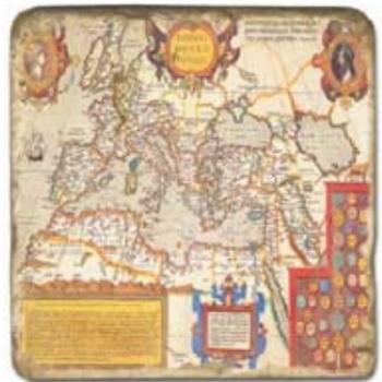 Marble Tile, Theme: Antique Maps A, antique finish, hanger, anti slip nubs, Dim.: l 20 x w 20 x h 1 cm