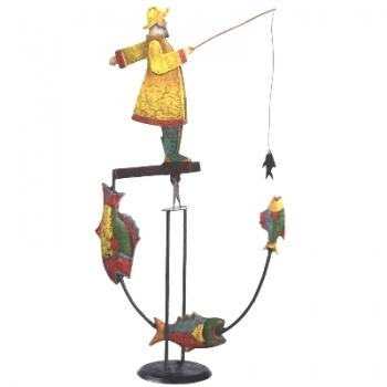 """Figurine """"pêcheur"""", avec certificat d'authenticité et numéro de série du métal, dimensions: h 54 cm xL 32 cm x l 11 cm"""
