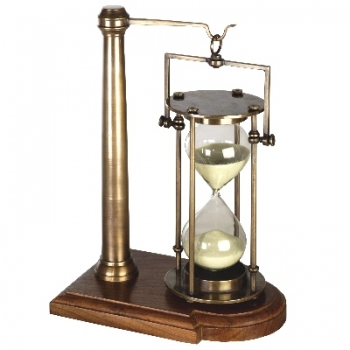 Sandglass, gimbal-mounted, with walnut stand, solid bronzed brass, mouth blown, 30 minutes runtime, Dimensions: h 16 x Ø 10.5 cm