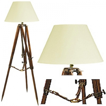 Tripod Lamp with chintz shade, crème white, antique brass, walnut coloured, Dimensions: h 130 x Ø 60 cm