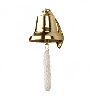 Ship's bell, solid polished brass, with solid polished brass wall holder and plaited rope end, Dimensions: Ø 12 x h 12 cm
