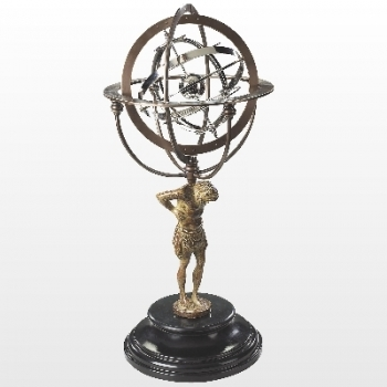 Armillary Sphere with Atlas statue, cast aluminum, bronzed spherical rings, partly chrome plated,Marble base, dimensions: h 56 x d 25.5 cm