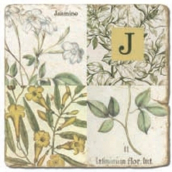 Marmorfliese, Monogramm J,  Antikfinish,  Aufhängeöse, Antirutschfüßchen, Maße: L 20 x B 20 x H 1 cm