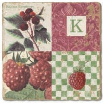 Marble Tile, Monogram K, antique finish, hanger, anti slip nubs, Dim.: l 20 x w 20 x h 1 cm