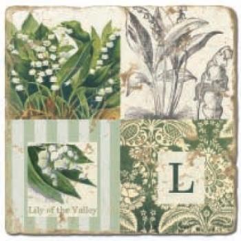 Marmorfliese, Monogramm L,  Antikfinish,  Aufhängeöse, Antirutschfüßchen, Maße: L 20 x B 20 x H 1 cm