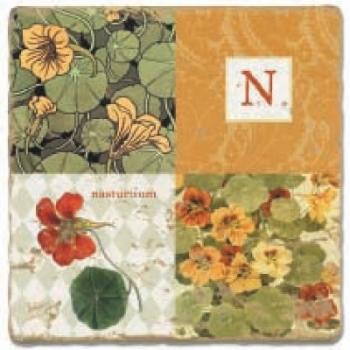 Marble Tile, Monogram N, antique finish, hanger, anti slip nubs, Dim.: l 20 x w 20 x h 1 cm