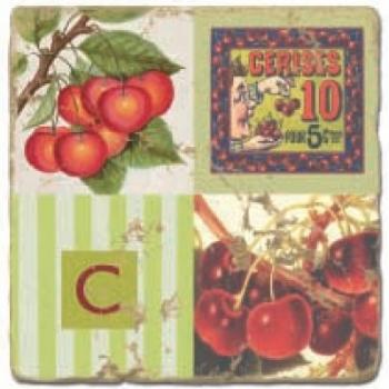 Marmorfliese, Monogramm C,  Antikfinish,  Aufhängeöse, Antirutschfüßchen, Maße: L 20 x B 20 x H 1 cm