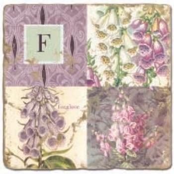 Marmorfliese, Monogramm F,  Antikfinish,  Aufhängeöse, Antirutschfüßchen, Maße: L 20 x B 20 x H 1 cm
