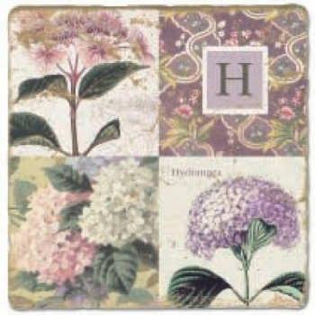 Marmorfliese, Monogramm H,  Antikfinish,  Aufhängeöse, Antirutschfüßchen, Maße: L 20 x B 20 x H 1 cm