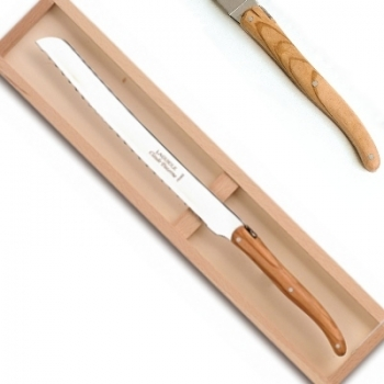 Laguiole pro bread knife in box, l 31.5 cm, olivewood