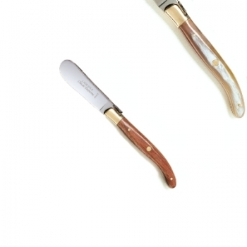 Laguiole butter spreader, l 14.5 cm, polished brass bolsters, horn light