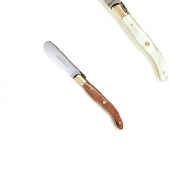 Laguiole butter spreader, l 14.5 cm, polished brass bolsters, marbled light