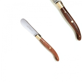 Laguiole butter spreader, l 14.5 cm, polished brass bolsters, rosewood