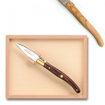 Laguiole oyster opener in box, l 16 cm, olivewood