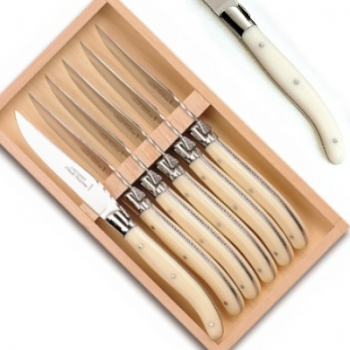 Laguiole steak knives, set of 6 in box, l 23 cm, polished stainless steel bolsters, ivory coloured