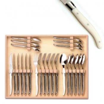 Coffret ménagère Laguiole 24 pièces, 6 couteaux, 6 fourchettes, 6 cuillères, L 23 cm, 6 cuillères à café L 16 cm, mitres inox poli, Ivoirine