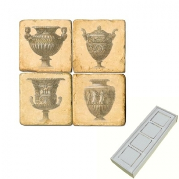 Aimants en marbre, coffret de 4, motif vases anciens, finition antique, L 5 x l 5 x h 1 cm