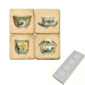 Marble Memo Magnets, set of 4, illustration theme Tea Cups 1, antique finish, l 5 x w 5 x h 1 cm