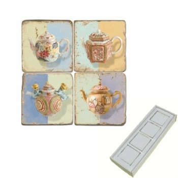 Aimants en marbre, coffret de 4, motif théières, finition antique, L 5 x l 5 x h 1 cm