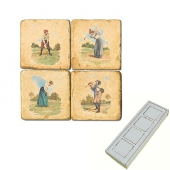 Aimants en marbre, coffret de 4, motif golf 1, finition antique, L 5 x l 5 x h 1 cm