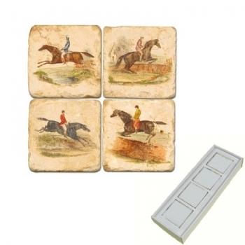 Aimants en marbre, coffret de 4, motif chevaux et cavaliers, finition antique, L 5 x l 5 x h 1 cm