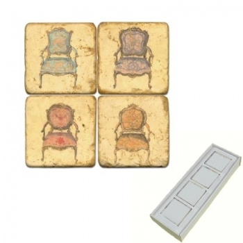 Marble Memo Magnets, set of 4, illustration theme Classic Chairs, antique finish, l 5 x w 5 x h 1 cm