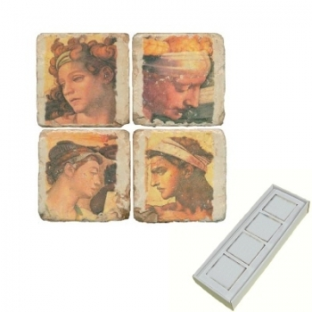 Marble Memo Magnets, set of 4, illustration theme Classic Heads, antique finish, l 5 x w 5 x h 1 cm