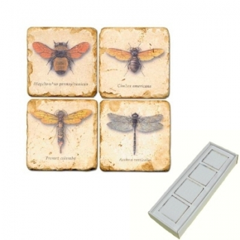Marble Memo Magnets, set of 4, illustration theme Winged Insects 1, antique finish, l 5 x w 5 x h 1 cm