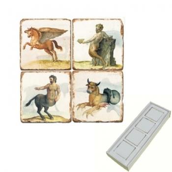 Aimants en marbre, coffret de 4, motif créatures mythiques 2, finition antique, L 5 x l 5 x h 1 cm