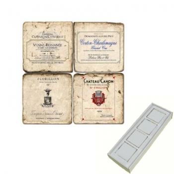 Memomagnete Set Französische Weine 4, Marmor, Antikfinish, 4 er Set in Box, Maße: L 5 x B 5 x H 1 cm