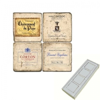 Aimants en marbre, coffret de 4, motif vin de France 5, finition antique, L 5 x l 5 x h 1 cm