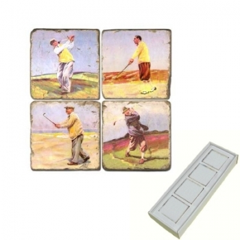 Aimants en marbre, coffret de 4, motif golf 4, finition antique, L 5 x l 5 x h 1 cm