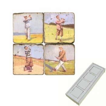 Marble Memo Magnets, set of 4, illustration theme Golf 5, antique finish, l 5 x w 5 x h 1 cm