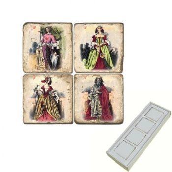 Marble Memo Magnets, set of 4, illustration theme Gentry, antique finish, l 5 x w 5 x h 1 cm