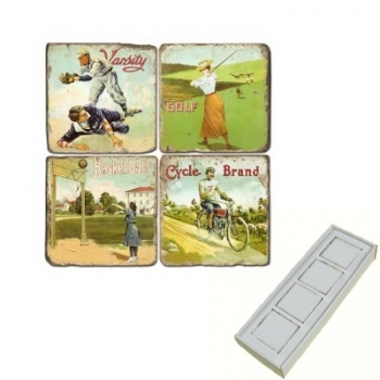 Marble Memo Magnets, set of 4, illustration theme Sports 1, antique finish, l 5 x w 5 x h 1 cm