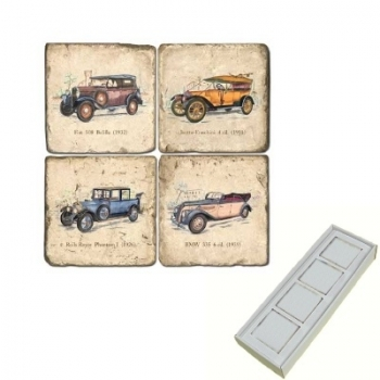 Marble Memo Magnets, set of 4, illustration theme Classic Cars, antique finish, l 5 x w 5 x h 1 cm