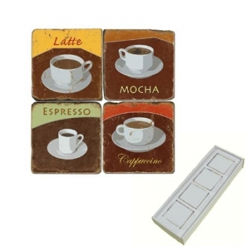 Marble Memo Magnets, set of 4, illustration theme Coffee Cups 1, antique finish, l 5 x w 5 x h 1 cm