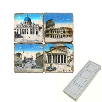 Marble Memo Magnets, set of 4, illustration theme Ancient Rome, antique finish, l 5 x w 5 x h 1 cm