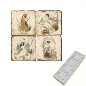 Aimants en marbre, coffret de 4, motif les 4 saisons, finition antique, L 5 x l 5 x h 1 cm