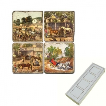 Aimants en marbre, coffret de 4, motif chevaux 1, finition antique, L 5 x l 5 x h 1 cm