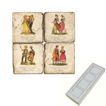 Marble Memo Magnets, set of 4, illustration theme French Regions 2, antique finish, l 5 x w 5 x h 1 cm
