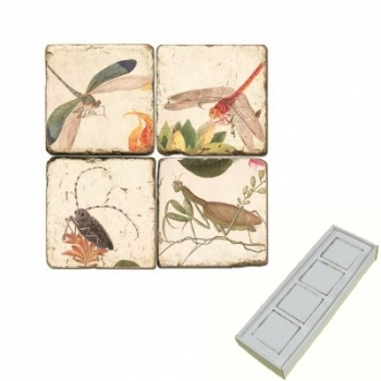 Marble Memo Magnets, set of 4, illustration theme Winged Insects 2, antique finish, l 5 x w 5 x h 1 cm