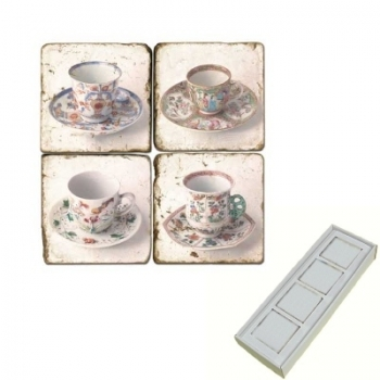 Aimants en marbre, coffret de 4, motif tasses de thé 2, finition antique, L 5 x l 5 x h 1 cm