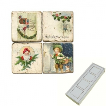Aimants en marbre, coffret de 4, motif Noël, finition antique, L 5 x l 5 x h 1 cm