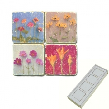 Marble Memo Magnets, set of 4, illustration theme Flower Potpourri, antique finish, l 5 x w 5 x h 1 cm